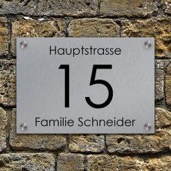 stainless steel Hausnummer mit Straßenname gelasert