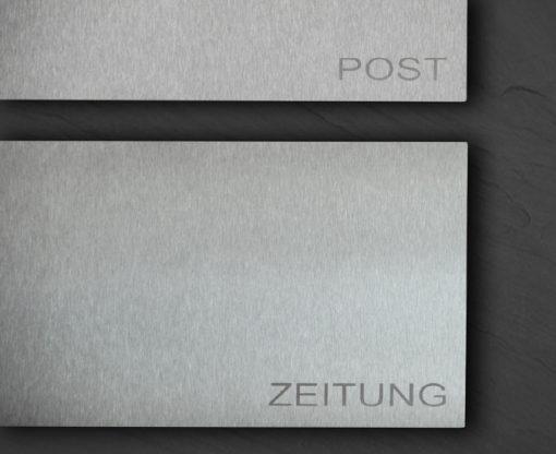 Detailansicht letterbox und Zeitungsbox in stainless steel mit Beschriftung
