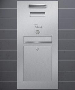 letterbox stainless steel mit Klingeltaster und Sprechanlage