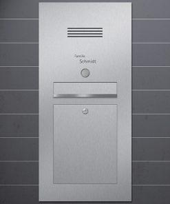 letterbox stainless steel gebürstet mit Türklingel und Sprechanlage