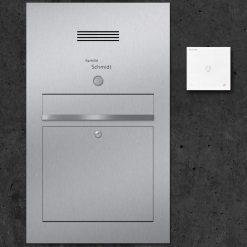letterbox stainless steel mit Klingeltaster modern Design Audiosprechstelle