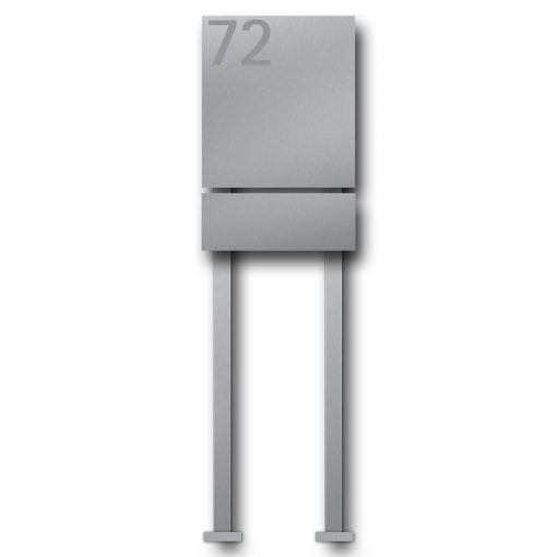 letterbox stainless steel newspaper compartment B1 Number freistehend