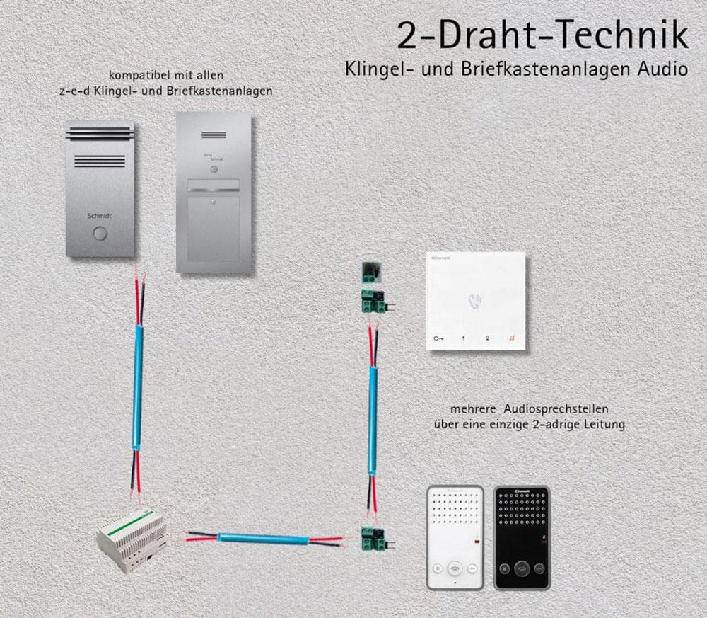 Türsprechanlage letterbox stainless steel Audio 2-Draht Technik