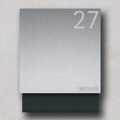 letterbox stainless steel anthracite newspaper compartment Hausnummer Namensbeschriftung Wandmontage