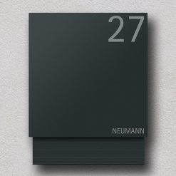 letterbox anthracite newspaper compartment Hausnummer Namensbeschriftung Wandmontage