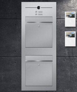 letterboxanlage stainless steel Zweifamilienhaus Kamera Namensbeschriftung