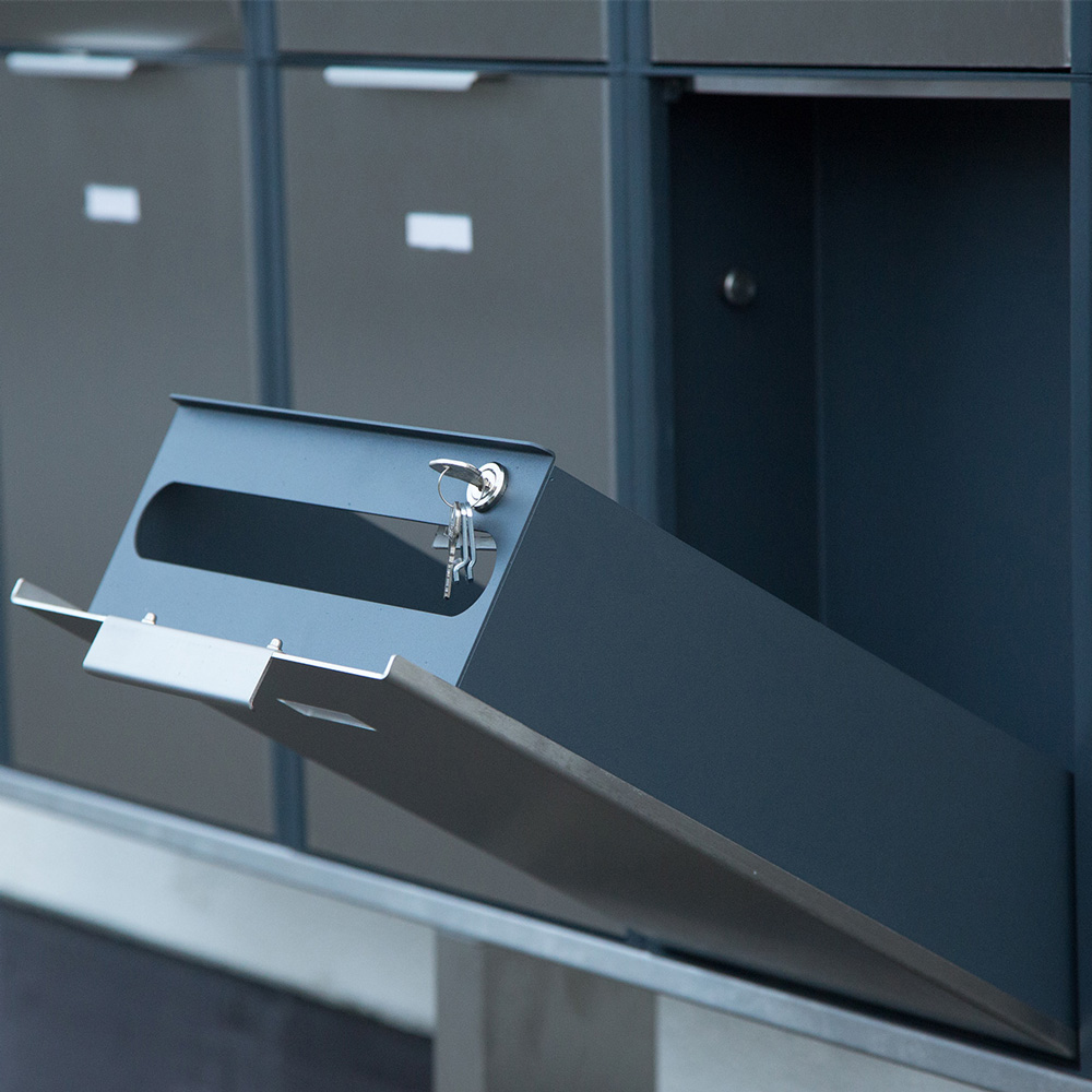 letterbox stainless steel anthracite Mehrfamilien Namensschild