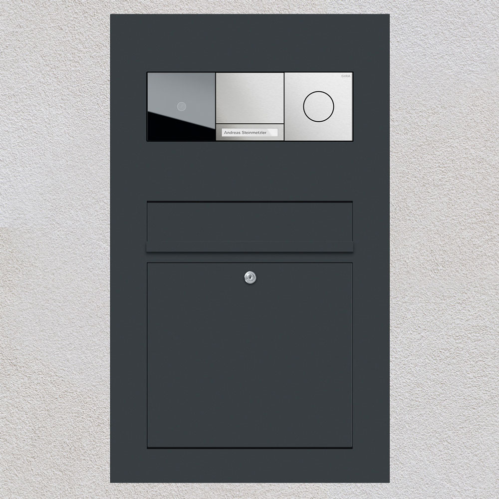 letterbox stainless steel anthracite RAL7016 Gira 106