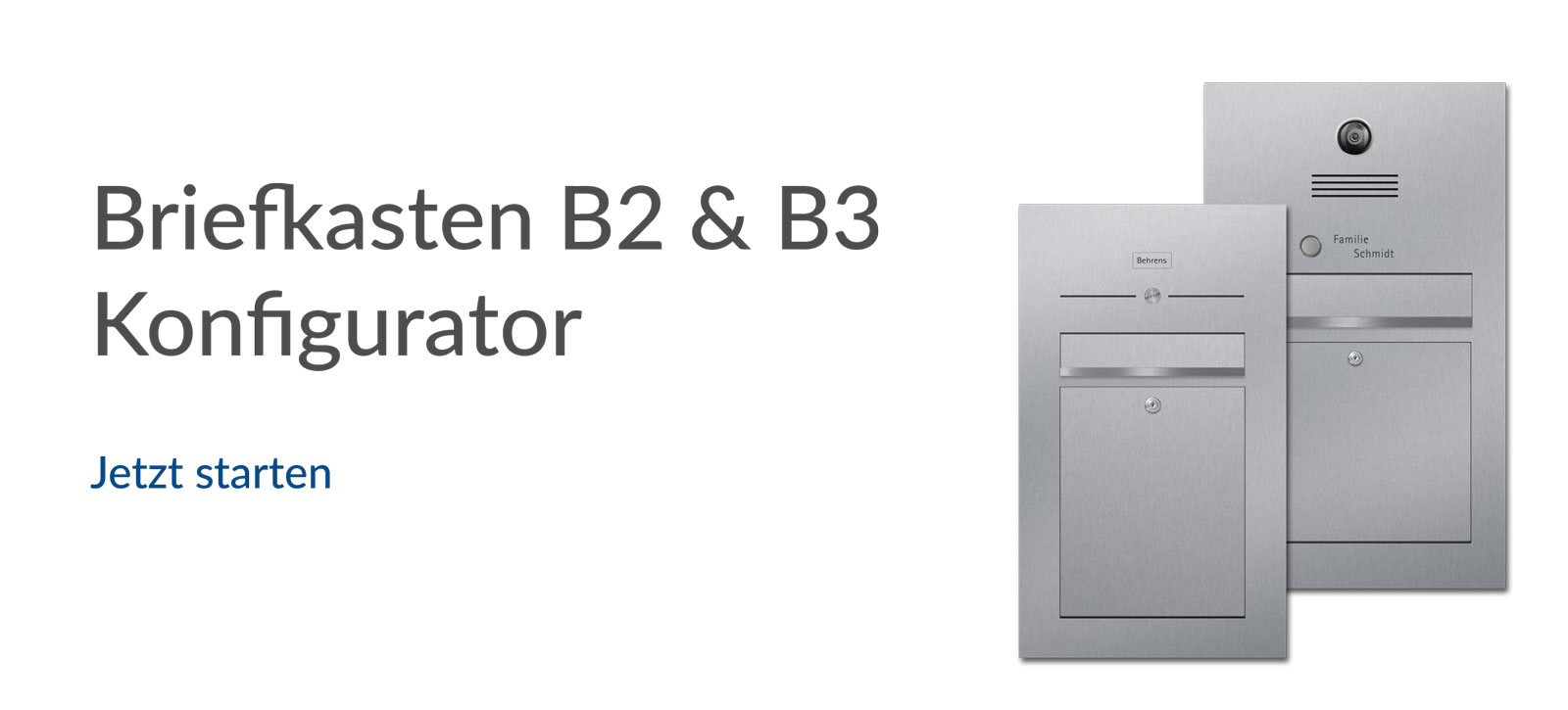 letterbox stainless steel Konfigurator Banner